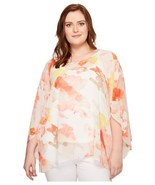 Calvin Klein Women's Plus Floral-Print Angel-Sleeve Pullover Blouse Shir... - $49.88+