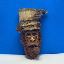 Wood carved Tree face beard wind whisp wizard gnome pipe Cast folk art v... - $272.25