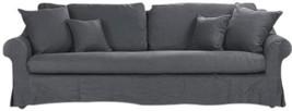 ALBINE Sofa Navy Blue Limed Gray Linen Oak FREE SH - $4,899.00