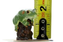 Hagen Renaker Miniature Tree Frog on Stump Ceramic Figurine image 2