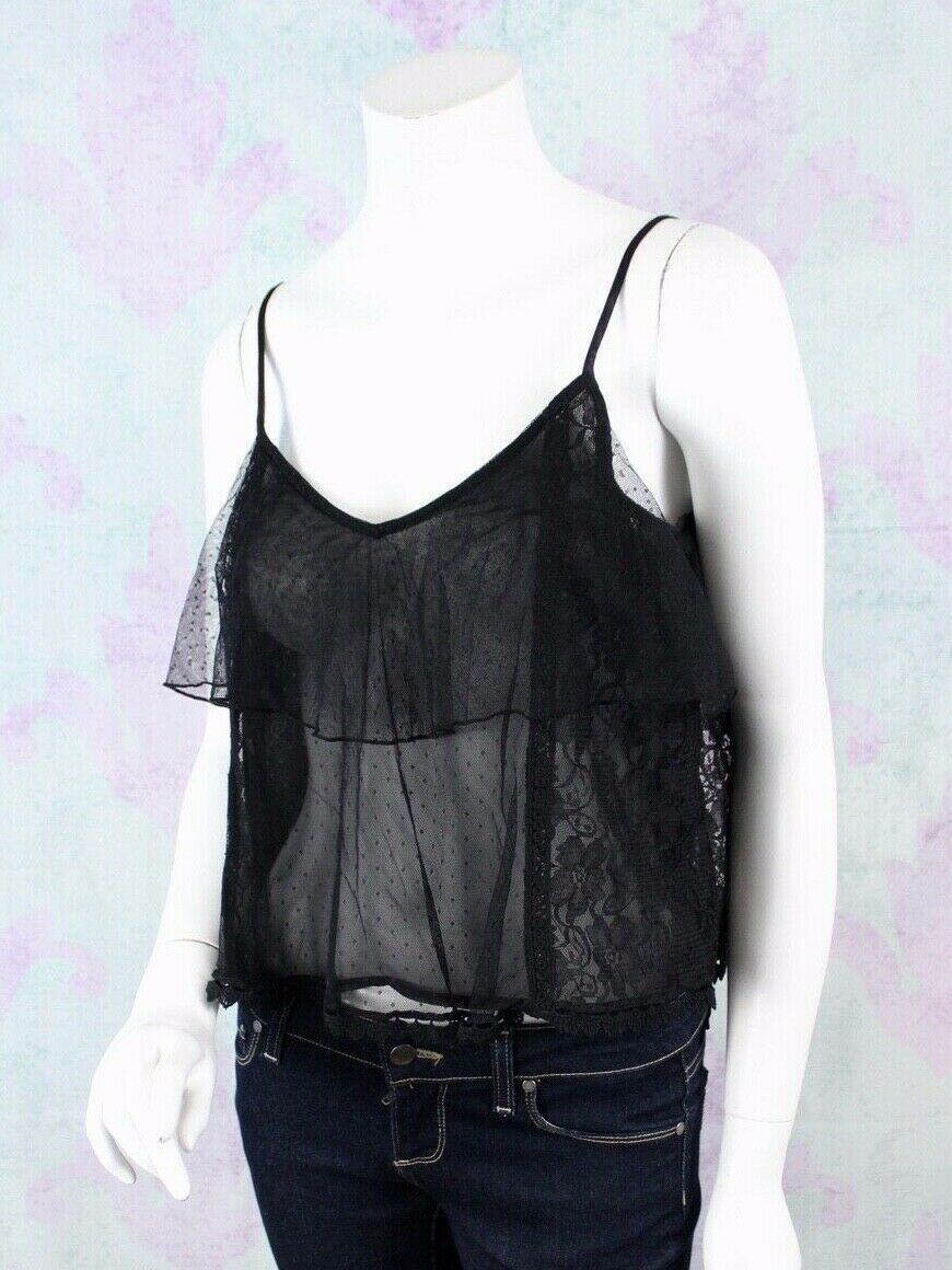 American Eagle Outfitters XS Black Nylon Lace Sheer Tiered Crop Top Shirt Boho