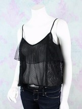 American Eagle Outfitters XS Black Nylon Lace Sheer Tiered Crop Top Shir... - $24.74