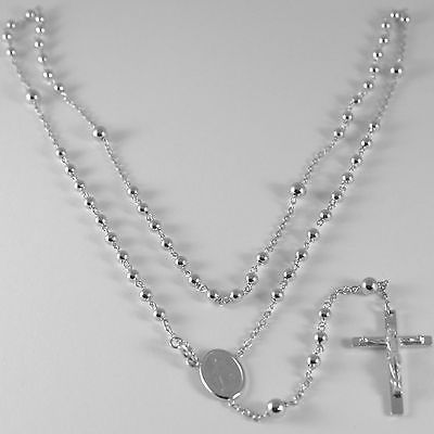 COLLIER CHAPELET OR BLANC 750 18K MÉDAILLE MIRACULEUSE CROIX 52 CM MADE IN ITALY