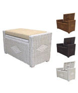 Rattan Wicker Chest Storage Ottoman Adam 32'' w/Cushion - $148.49+