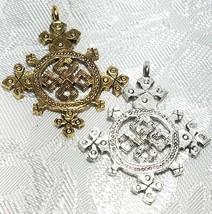 Coptic Cross FINE PEWTER PENDANT CHARM 4mm L x 33mm W x 28mm D image 2