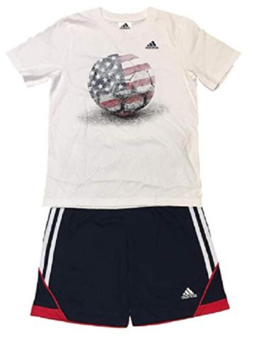 Neuf adidas Blanc Rouge Bleu Amérique USA Garçons 2 Pièce T-Shirt & Short Set