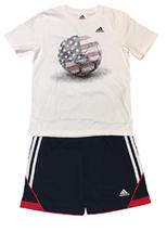 Neuf adidas Blanc Rouge Bleu Amérique USA Garçons 2 Pièce T-Shirt & Short Set image 1