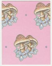Vintage Gift Enclosure Card Mushrooms Pink 1960's Unused Current - $6.92