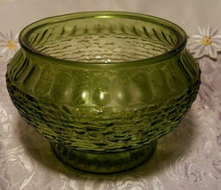 "Vintage NAPCO Cleveland OH Forest Green Rippled Glass Vase / Bowl 5 1/4""T x 8""W"