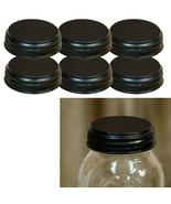 6/SET BLACK STANDARD MASON JAR LIDS CRAFTS FARMHOUSE DECOR COUNTRY KITCHEN - $9.90