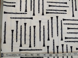 1/2 yd Music/clarinet woodwind instruments on ivory quilt fabric -free shipping image 4