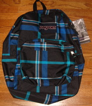 JanSport Superbreak Backpack  Black / Blue Streak Perry Plaid - $32.00