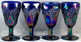 4 Imperial IG Aurora Jewels Cobalt Blue Carnival Glass Kite & Panel Gobl... - $111.00