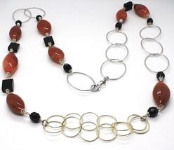 Collar Plata 925 ,Jaspe Ovalados, Ónix, Largo 90cm, Círculos Grandes image 2
