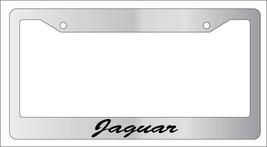 Chrome License Plate Frame Cursive Jaguar Auto Accessory Novelty - $9.49