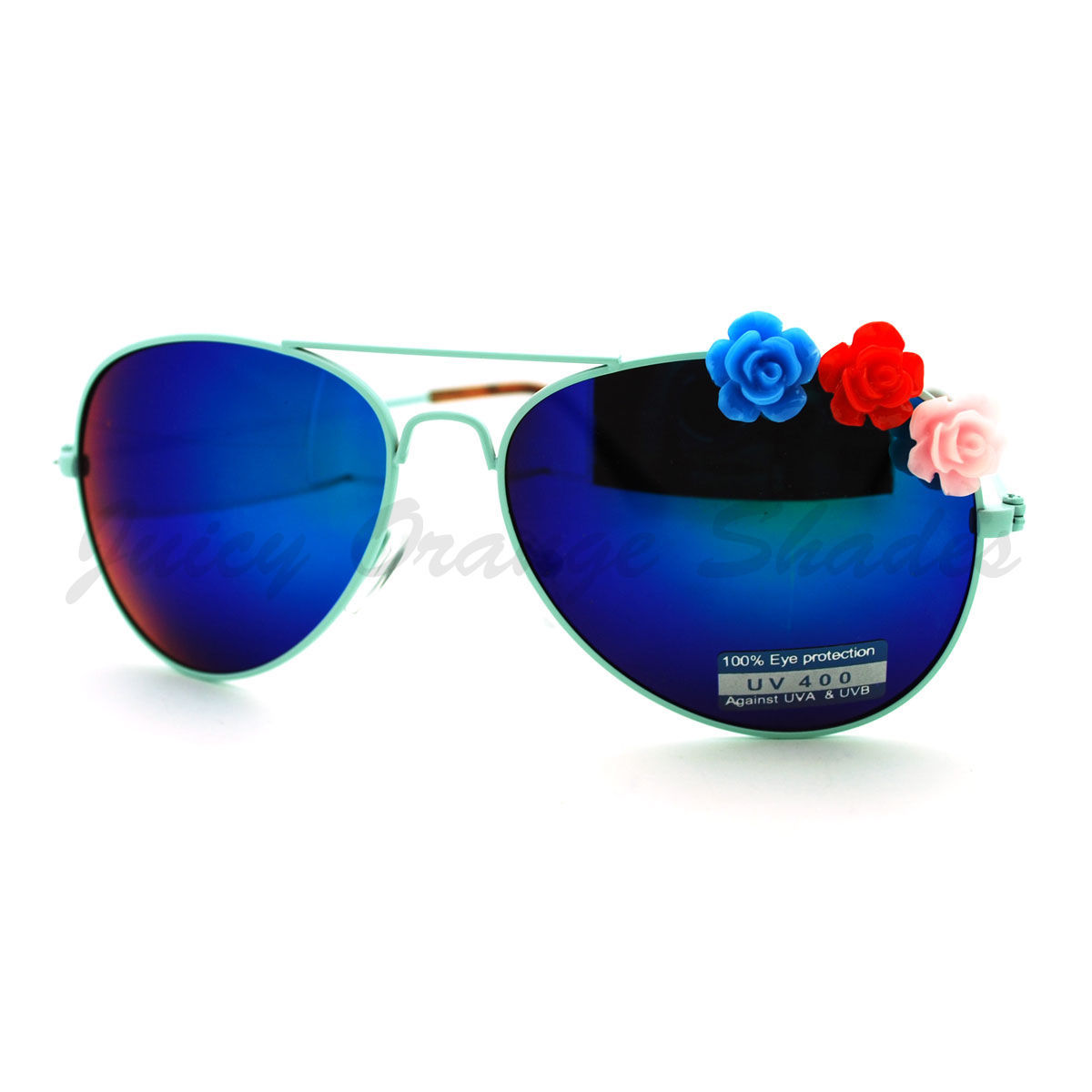 Rose Flower Decor Womens Aviator Sunglasses Thin Metal Frame