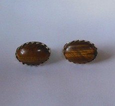 Vintage Signed Monet Oval Tiger's Eye Stone Clip-on Earrings  - $22.52