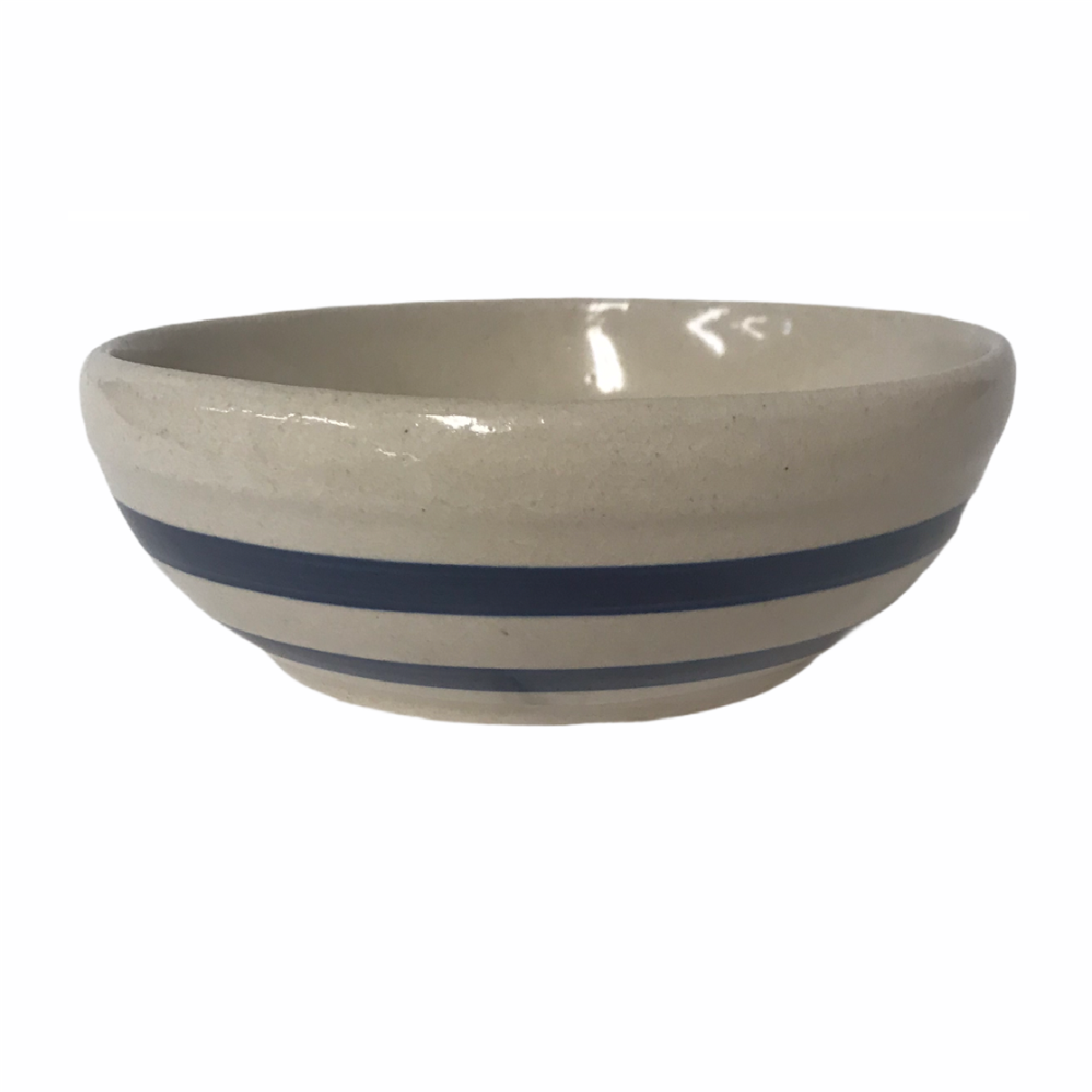 RRP Company Roseville Ohio Pottery Bowl 6.5 inch With 2 Blue Stipes Vintage - $18.68