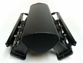 TALL FABRICATED BLACK GM LS1 LS2 INTAKE MANIFOLD W/ FUEL RAILS & THROTTLE BODY image 2