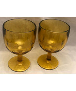 Vintage Indiana Glass Amber Thumb Print Water Iced Tea Goblet (2) - $26.73
