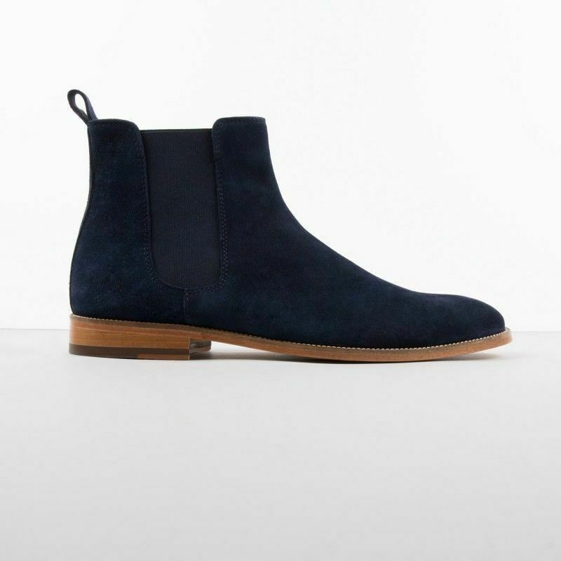 Handmade Men's Blue Suede High Ankle Chelsea Boot