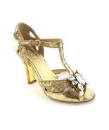 MIU MIU Size 6.5 Course Gltter Gold T-Strap Super Gem Heels Pumps Shoes ... - $149.00