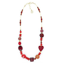 MILENA Necklace Red and Gold Murano Glass - $88.00