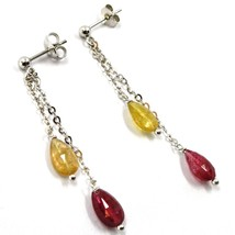 18K WHITE GOLD PENDANT EARRINGS, YELLOW AND PURPLE DROP TOURMALINE, TWO WIRES image 2