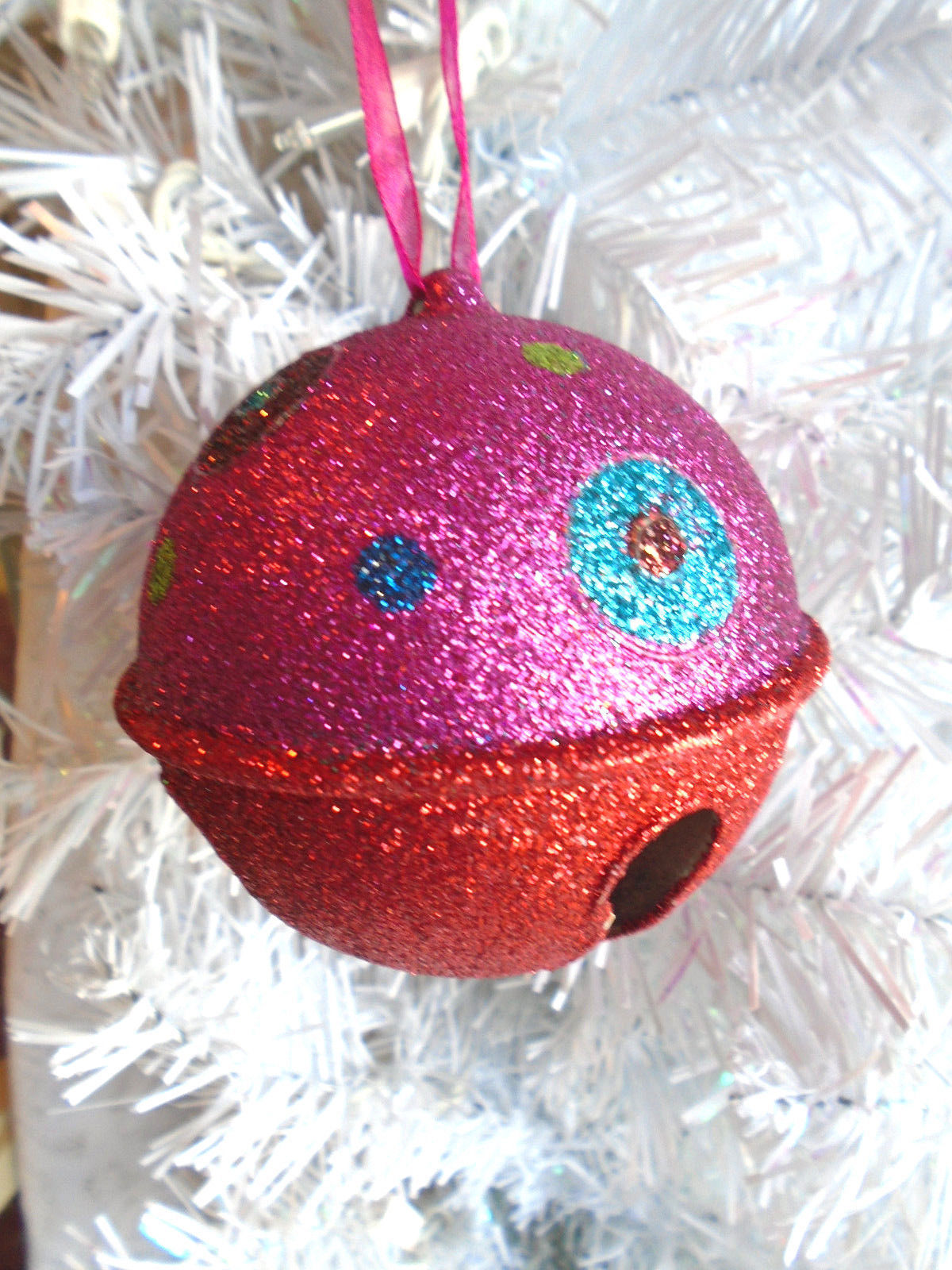 Christmas Tree Ornament Gold Two-Tone Metal Colorful Glitter Bell