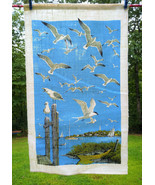 Fantastic Vintage Seagulls by the Ocean Colorful Linen Dish or Kitchen T... - $16.00