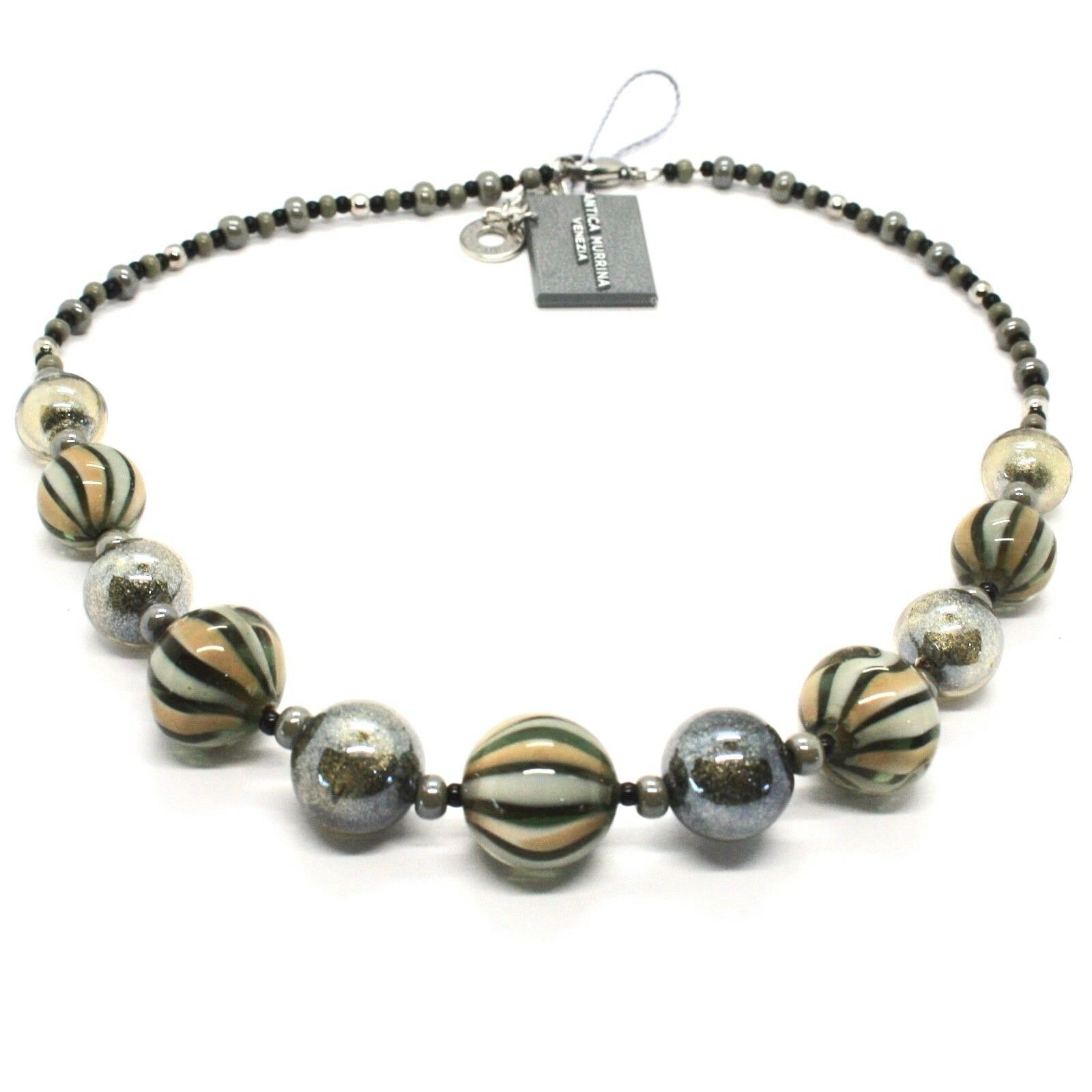 Necklace Antica Murrina Venezia with Murano Glass Gray Military Green COA3A32