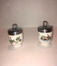 "Vintage Royal Worcester Egg Coddler 2 1/2"" tall Woodland Wren and Finch - $29.70"