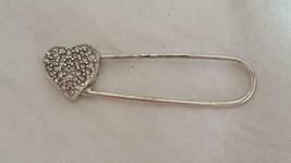"""VINTAGE 2.25""""FAUX DIAMOND HEART DIAPER PIN FASHION PIN,SILVERTONE METAL,... - $4.94"""