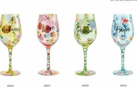 "Wine Glass Set of 4 - Kindness, Love, Peace, Hope ""Designs By Lolita"" 2021 15 oz"