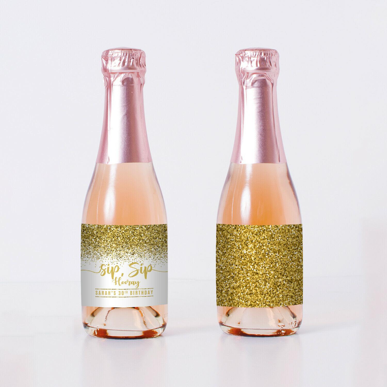 Sip Sip Hooray Gold Mini Champagne Bottle Labels - set of 10