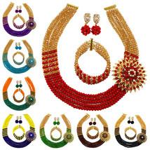 Fashion Gold AB Dark Green Crystal Beaded Necklace Nigerian Wedding African Bead - $39.81