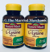 (2) Nature Made Extra Strength L-Lysine 1000 mg 60 tablets each 8/2024 F... - $19.88