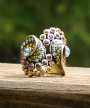 Vintage Heidi Daus Ring, 7, Multi Color Crystals, Regal Swirl, Signed He... - $125.00