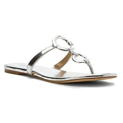 Michael Kors MK Womens Premium Flip Flop Claudia Flat Thong Sandal Silver size 5