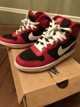 BIG NIKE HIGH SIZE 5 YOUTH VARSITY RED WHITE SNEAKER 344572 611 EUC - $28.85