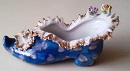 Vintage Glass Small Porcelain Shoe Blue Shoe with Polka Dots & Roses - $39.99