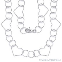 .925 Sterling Silver 15mm Heart & 11mm Circle Charm Link Chain Italian Necklace - $50.18 - $65.63