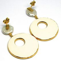 Silver Earrings 925, Hanging, Pearls Baroque Style Flat, Ovals Effect Snake image 3
