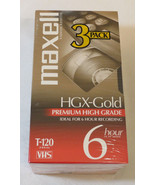 Maxell Video Cassette 3 Pack HGX-Gold Premium High Grade 6 Hour T-120 bl... - $44.54