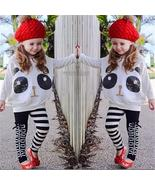 Kids Baby Girls Outfits Long Sleeve Cute Panda Tops+Striped Bow Pants 2P... - $18.50