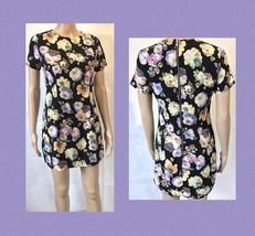 90s Grunge Style Mini Dress Shift Floral Short Street Style Women's Size... - $21.87