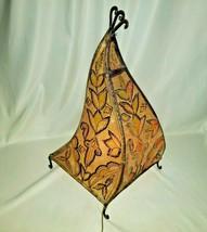 Vintage Mid Century RAW HIDE Shade Sail Cone Mosaic Design Lamp Cast Iro... - $168.29