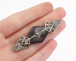 925 Sterling Silver - Vintage Black Onyx & Marcasite Star Brooch Pin - B... - $38.54