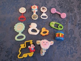 Vintage Baby Rattles Lot Fisher Price The First Years Sanitoy  - $19.81