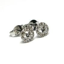 White Gold Earrings 750 18K, Central and Frame of Diamonds, 0.47 CT, Flower image 1